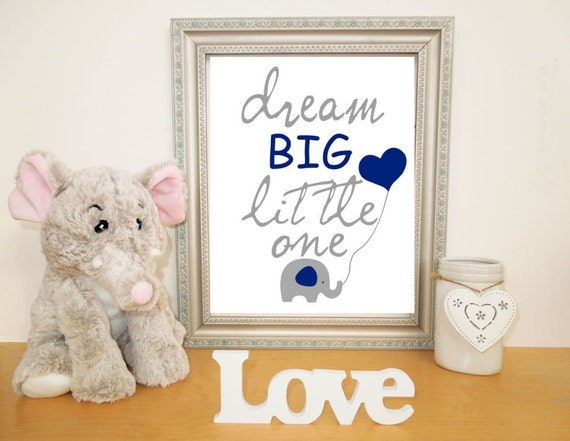 Printable Elephant Art for Nursery Dream Big Little One