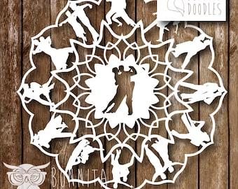 Tango Mandala paper cutting template Personal