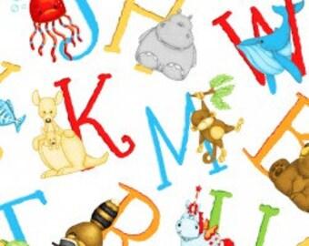 Alphabet Fabric-Gender Neutral Cotton Fabric-Childrens Quilting Fabric-ABC Fabric-Animal Fabric