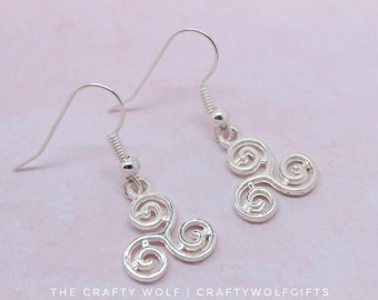 triskelion earrings - triskele - silver plated - 16mm - drop earrings - dangle earrings - pagan - wiccan - teen wolf - jewellery