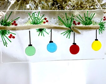 Fused Glass Snowy Bough With Four Ornaments