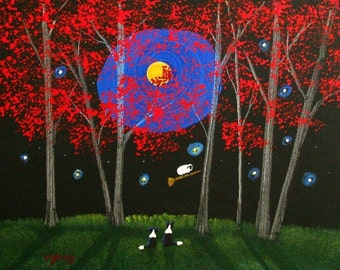 Border Collie Dog FRIGHT NIGHT limited edition art print by Todd Young painting