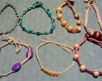 Hemp and Bead Anklets