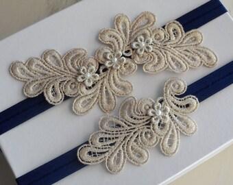 Navy Blue & Gold Lace Garter Set / Something Blue garter Set / Flower Lace Wedding Garter Set / Bohemian Garter Set / Shower Gift.