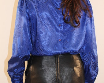 Vintage blue secretary blouse with high neck  front pleating puffy sleeve 1980s 80s small medium