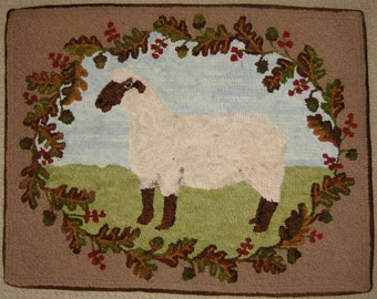 Rug Hooking PATTERN American Oxford Sheep on linen