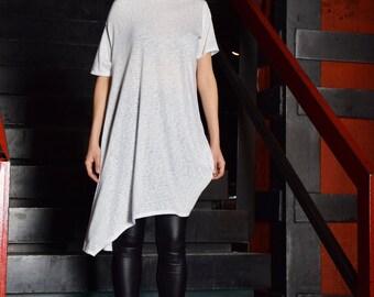 White tunic, extravagant tunic, asymmetric tunic dress, plus size tunic, oversize dress, short sleeved tunic by UM-091-VL