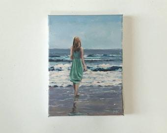 original acrylic, painting, beach painting, swimmer painting, sea painting, summer painting, small painting, acrylics on canvas, bather art