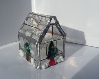 Fused glass Snowy Christmas greenhouse tealight holder