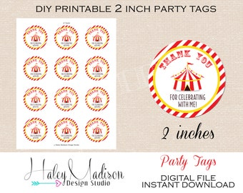 Circus, Carnival, Thank you Tags, Favor Tags, Gift tags INSTANT DOWNLOAD