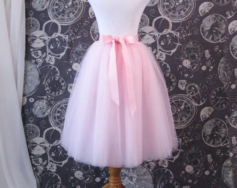 Pink Tulle Skirt With Ribbon Waistband - Adult Tea Length Tutu - Custom Size, Made to Order