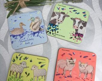 Set of 4 farm coasters- farmio collection