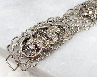 Vintage / Silver Mythological North Wind and Phoenix / Griffin Repousse Panel Bracelet