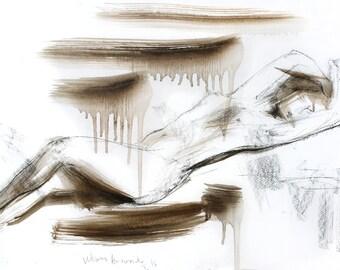 Nude Charcoal Sketch, Original drawing, Nude Woman sketch, Figurative wall art sketch, Graphic artwork Wall Decor, Female Modern art sketch