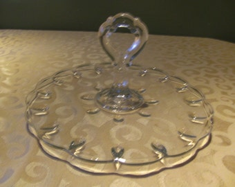 vintage glass dessert tray, vintage appetizer tray, glass party tray, serving tray