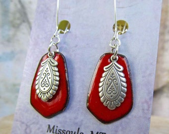 Red earrings Enamel earrings Silver dangle drop earrings Paisley bohemian boho jewelry