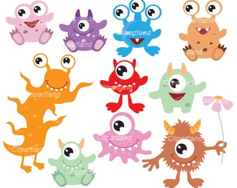 INSTANT Download CM_34_monsters. Cute monsters clip art. Personal and commercial use.