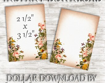 INSTANT DOWNLOAD, Printable, Blank Tags, Blank Journal Cards, Wedding Cards, Table Cards, Note Cards, Small Cards, Vintage, Floral Frame