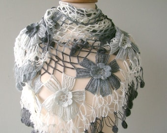 BIG SALE PERCENT OF 25 - JUST FOR A WEEK-  BLACK GREY AND WHITE MOHAIR TRIANGLE FLOWER GARDEN SHAWL -READY TO SHIP