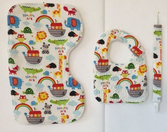 Burp Cloth, Quilted Bib, and Pacifier Clip Gift Set