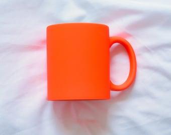 Neon Orange Matte Mug, Blank Sublimation Mug. Matte Orange Mug, great for crafting! Orange Mug, Orange Mug, 3 Neon colors available!