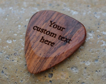 Professional Custom Engraved Guitar Pick / Plectrum. Burma padauk wood.