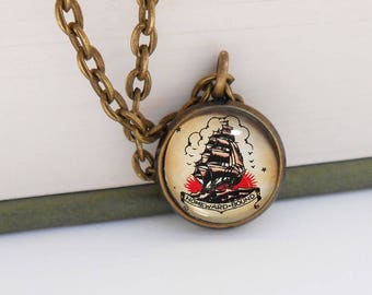 Tattoo Ship Nautical Small Pendant Necklace Vintage Style Bronze Beach