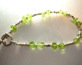 Peridot and Silver Bracelet