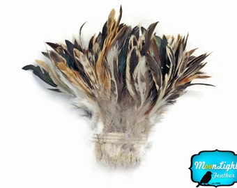 Wholesale Rooster Feathers, 1 yard - Wholesale CREAM and BLACK Strung Rooster Schlappen Feathers (bulk) : 3457