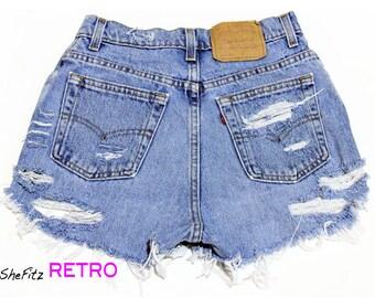 All Sizes Grunge Shredded High Waisted Cut Off Shorts