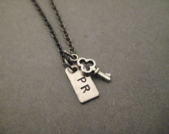 I Hold The Key to My PR - Personal Best Necklace - Handmade Nickel Silver PR Charm and Key on Gunmetal Chain - Personal Goal Necklace