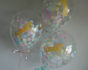 """8 or 16 Count: 11"""" Pastel Unicorn Confetti Balloons- Shower, Birthday, Baby, 1st, Girl, Wedding, Fantasy, Gold, Baptism, Photo Prop, Holiday"""