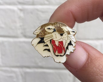 Vintage Enamel Lapel Pin or Hat Pin - Tiger Head