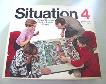 Vintage Parker Bros Situation 4 Action Puzzle Board Game