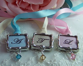 Wedding Bouquet Charm, Bridesmaid Charm, Bridal Keepsake, Monogram Charm, Soldered Glass Pendant, Art Charm, Will you be my bridesmaid charm