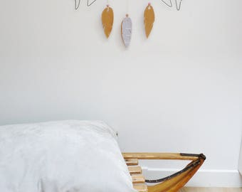 Bohemian decoration, arrows and feathers, deco wire and paper, wall decor, bedroom, living room, boho vibe deco deco deco holder