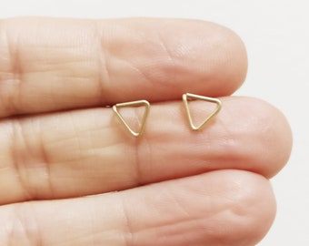 Small Triangle Earrings, Dainty Triangle Earrings, Gold Stud Earrings, Silver Stud Earrings, Simple Gold Earrings, Small Gold Earrings