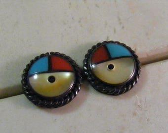 Vintage Native American Zuni Sunface Inlaid Earrings....  Lot 5550
