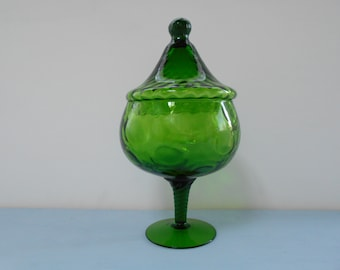 Retro Vintage Emerald Green Glass Bon Bon or Lolly Jar 1960's  #10089
