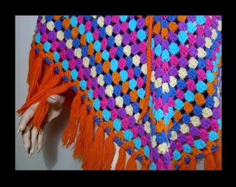 Hand made bright colorful crochet poncho 1960s ~ long orange fringe ~ purple pink turquoise blue yellow sweater pullover hippie top 60s
