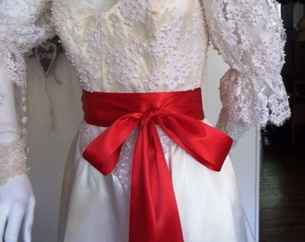 "Red Double Faced Ribbon Sash, Wedding Sash Belt, Bridesmaid Sashes, Flower Girl Sash, Luxe Double Faced Satin, 2.25"" by 4 yards"