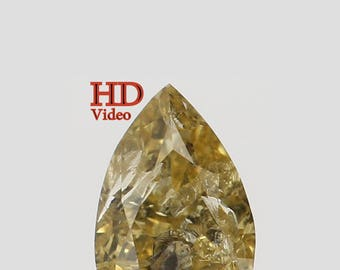 Natural Loose Diamond Pear Yellow Green Color I3 Clarity 4.20X2.70X1.90 MM 0.16 Ct L2073