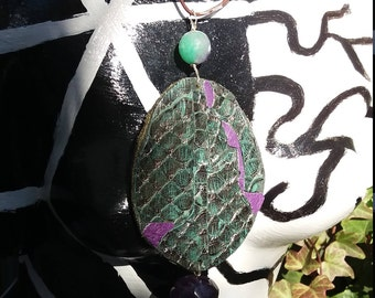 Green python mosaic pendant with violet leather, amethyst and green and purple agate