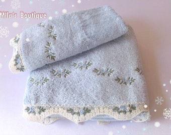 Turkish Towel Set, Lace Embroidery, Cotton/bamboo Blend, Floral Roses  Wedding Gift