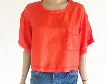 Vintage 80's Red Silk Blouse. Size Med/ Large