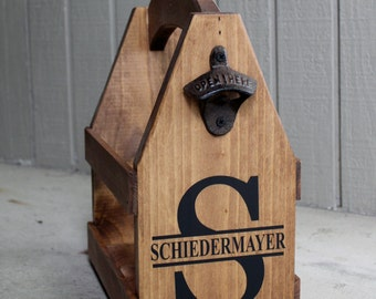 Gift for Him Personalized BEER HOLDER Beer Carrier Beer Caddy Brewery Gift Personalized Bottle Opener Wooden Beer Box Shower Gift