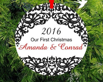 Our First Christmas as Mr & Mrs Ornament/Personalized Porcelain Newlywed Holiday Ornament/First Christmas Together/ML35 /lovebirdslane