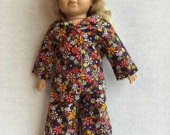 """2 piece flannel pajamas fit 18"""" doll."""