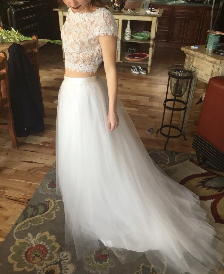 Bridal tulle skirt with train / boho dress skirt with train /