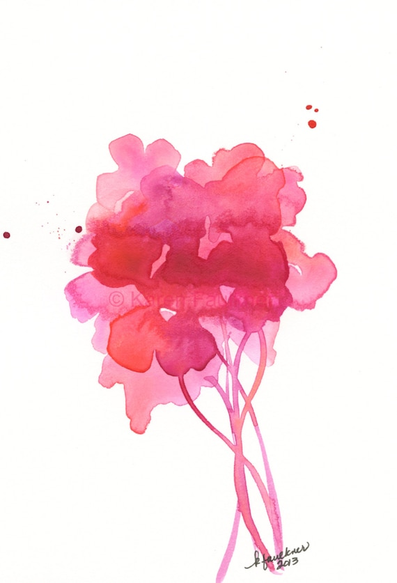 """Watercolor floral bouquet art print in pink and coral: """"Up with the Sunrise"""""""